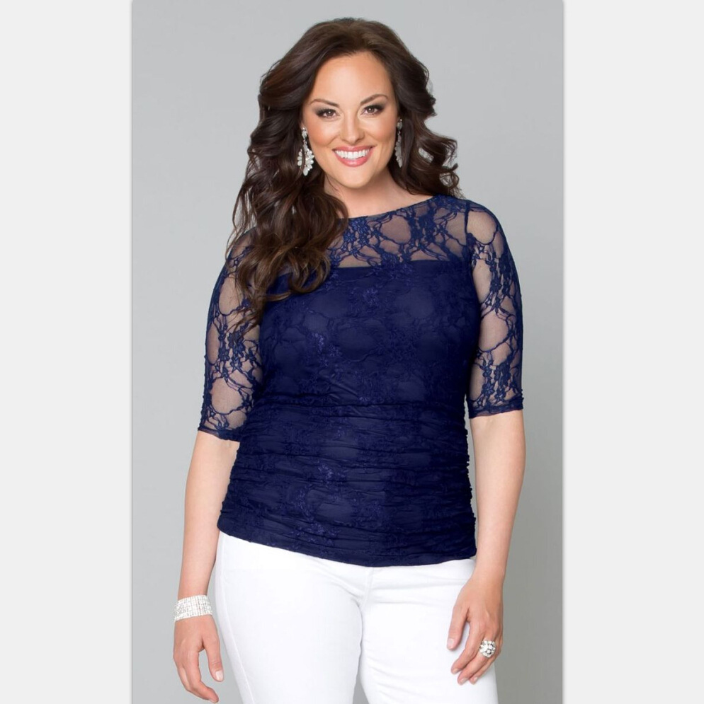 Buy plus size xl 5xl summer women lace for Plus size summer shirts