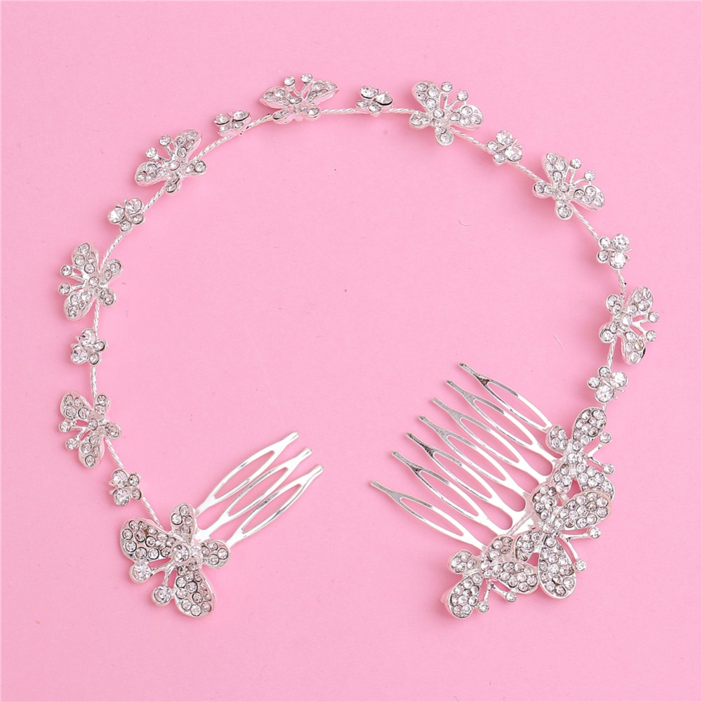 Woman Hairwear Wedding Jewelry Bride Special Long Butterfly Haircomb Rhinestone Alloy Trendy Accessories Fashion Crystal Combs(China (Mainland))