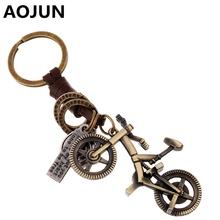 Punk Sporty Bicycle Key chain Vintage Bronze Plated Key Ring Genuine Leather Men Women Jewelry Purse Bag Buckle HandBag Pendant(China (Mainland))