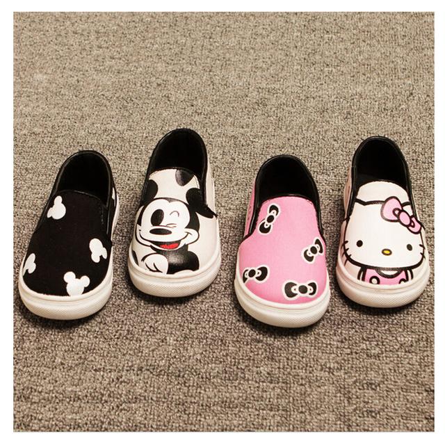 Весна осень детская обувь для девочек мальчиков детей мультфильм холст кроссовки ...