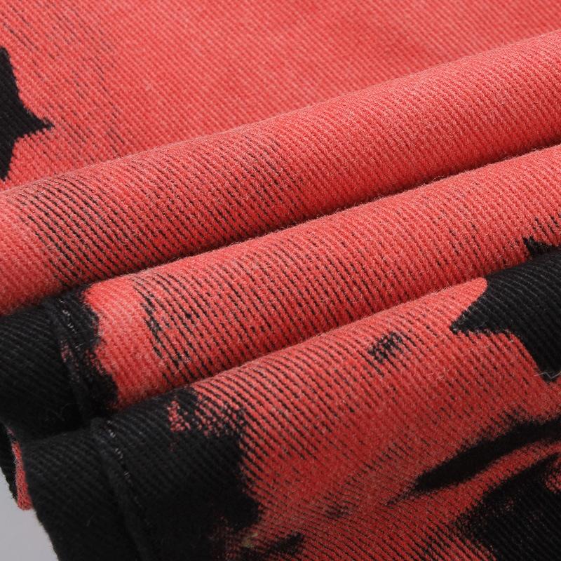 Скидки на Новый мужской личности печати мужчины джинсы брюки Картина Досуг Тонкий Ночной Клуб певица Знаменитости мужские поддельные дизайнер одежды G214