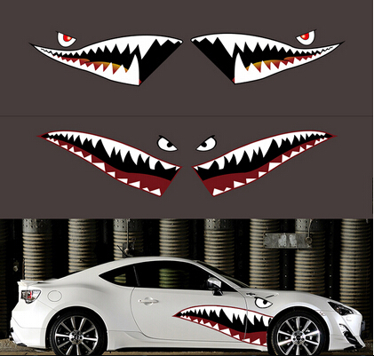 Personalized 1Pair 150cm American Air Force Garland Sticker Car Styling Accessory Funny Shark Mouth Car Sticker Car Body Decals(China (Mainland))