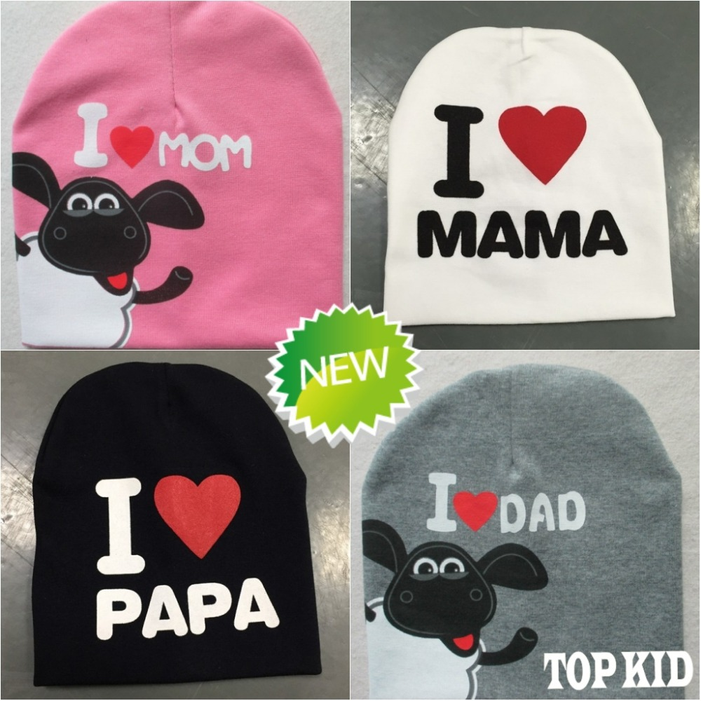 factory sale 2016 baby hat I LOVE MAMA Papa hat infant cap knitted Shaun sheep hat boy girl hats LD68(China (Mainland))