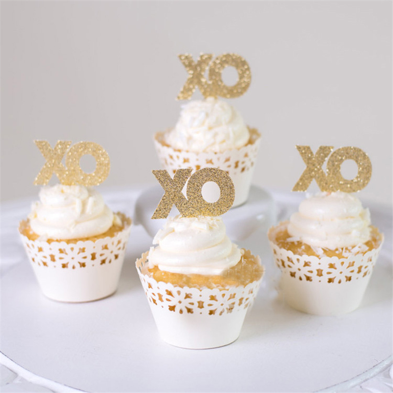 24pcs/lot Glitter XO cake cupcake Toppers Bachelor Bachelorette Valentine cake topper Wedding Bridal Engagement party decor DIY(China (Mainland))