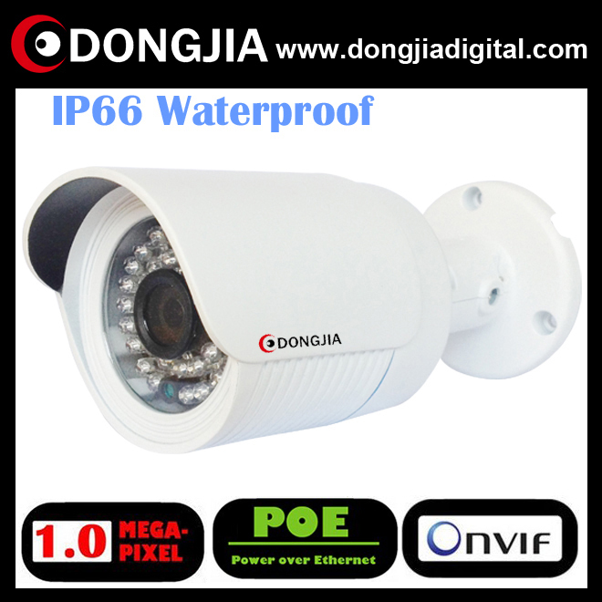 DONGJIA 1/4 outdoor ir motion sensor low price cctv bullet camera free after-sale repair waterproof 720p 1mp poe DA-IP3101HR-POE(China (Mainland))
