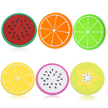 6 Pcs Silicone Fruit Slices Pattern Coaster Glass Cup Mat Drink Placemat Non Slip 2016 Hot Sell(China (Mainland))
