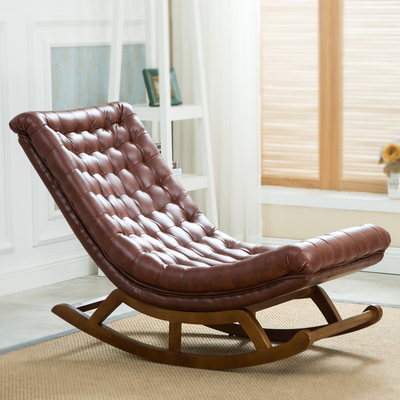 Modern Design Rocking Lounge Chair Leather And Wood For Home Furniture Living