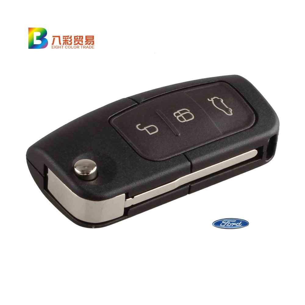 High Quality 3 Button Flip Folding Modified Uncut Car Blank Key Shell Remote Fob Cover for Ford Focus Fiesta C Max Ka With LOGO(China (Mainland))