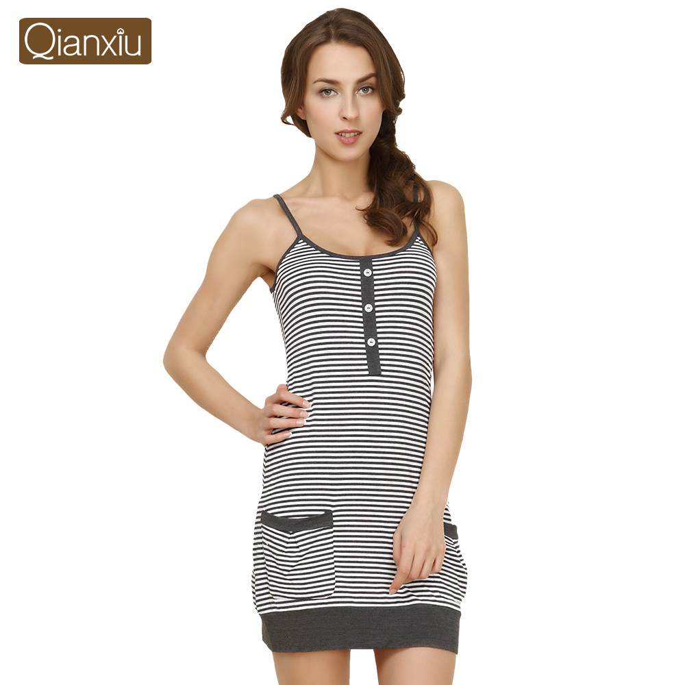 Qianxiu Brand sleepshirts Summer Casual Women's Condole belt Vest Nightgown Casual Nightdress for Women Free Shipping(China (Mainland))