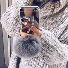 2016 Silver Luxury Metal Rope Mirror TPU Tassel case phone Capa rabbit fur ball For iPhone 6 Plus 6 4.7 4 5S Back Cover Case(China (Mainland))