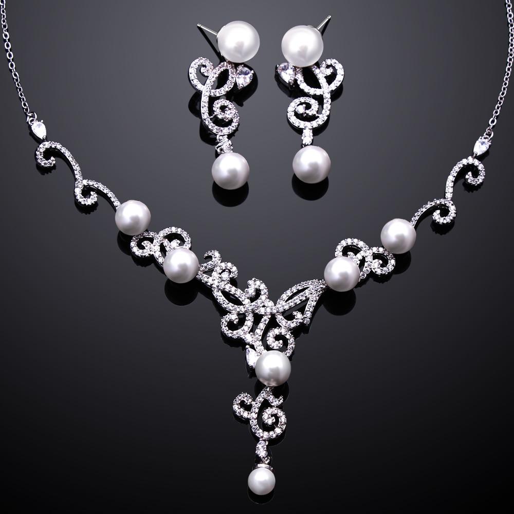 bridal wedding pearls zirconia necklace water earrings jewelry sets romantic lndian wedding accessories jewelery free shipping(China (Mainland))