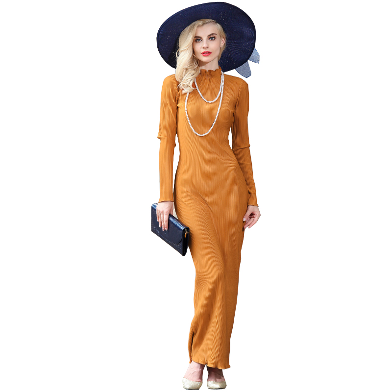 Women Sheath Dresses 2016 Autumn New Elegant Plus Size Long Sleeve Slim Maxi Long Dress Vestidos De Festa 2931(China (Mainland))