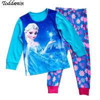 2017 Cartoon anna&elsa girls pyjamas kid baby pyjama sets enfant fille cotton pijama children sleepwear kids clothes for girls