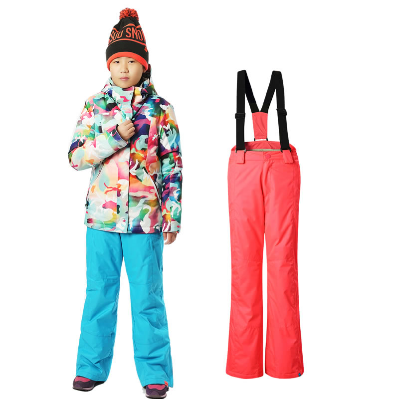 Gsou snow children's ski suit set girls camouflage skiing suit kids snowboarding suit jacket and pants waterproof 10K windproof(China (Mainland))