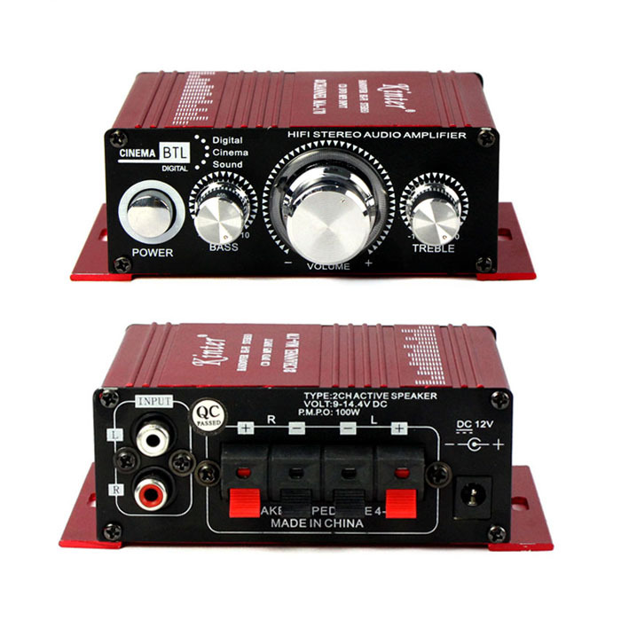 2015 Professinal 2CH 12V Hi-Fi Stereo Amplifier AMP CD DVD MP3 Speaker for Car/Motorcycle/Home/Boat Free Shipping Wholesale(China (Mainland))