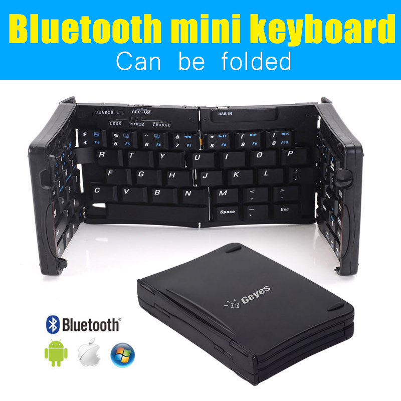 Free shipping Black three folding Portable Bluetooth Keyboard  with tablet smartphone stand any common system<br><br>Aliexpress