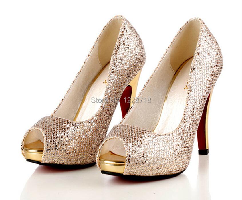 Aliexpress.com : Buy open 2015 bling bling Champagne wedding shoes ...