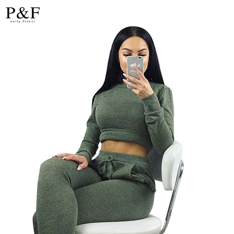 2016 Women Two Piece Outfits Pants Set Rompers Jumpsuit Long Pants 2 Piece Set army green o neck Crop Tops Bodycon Palysuit gray(China (Mainland))