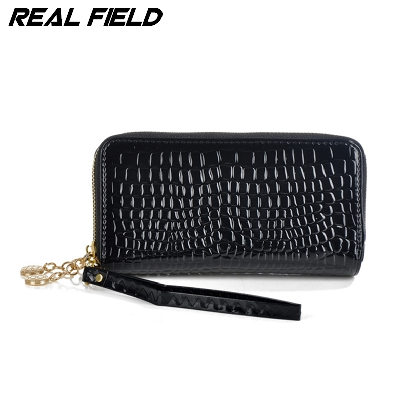 Real Field New Fashion Women Clutch Bag Bonded Genuine Leather Wallets Lady Purse Crocodile Pattern Female Two Zipper Bags 096(China (Mainland))