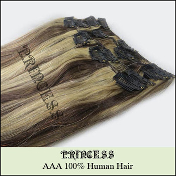 "Wholesale 15"" 20"" 22"" Women's Remy Human Hair Straight Clips In Extensions 7Pcs 75g #4/613"