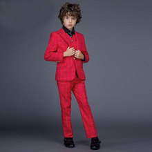 2017 fashion baby boys red blue black casual blazers jacket wedding suits boy formal clothing kids prom suit children outfit - Dream Angels Store store
