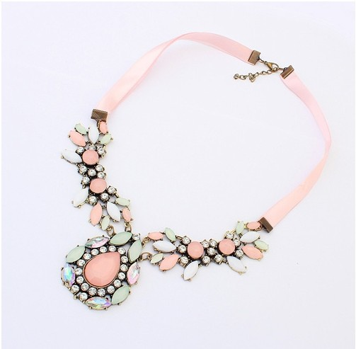 New 2015 Hot Pendant Chokers Necklace Jewelry Silk Chain Statement Necklaces Water Drop Gem Pendants For Gift Party Wedding(China (Mainland))