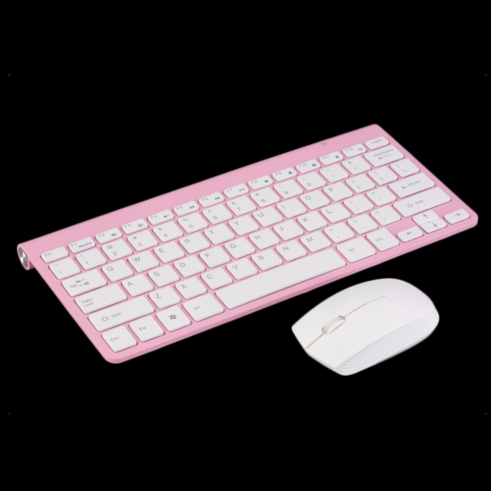 2.4G Pink Keyboard Mouse Combos Wireless Keyboard + Mute Mouse Mice Combo Kit Set For PC Computer Gaming Wholesale(China (Mainland))