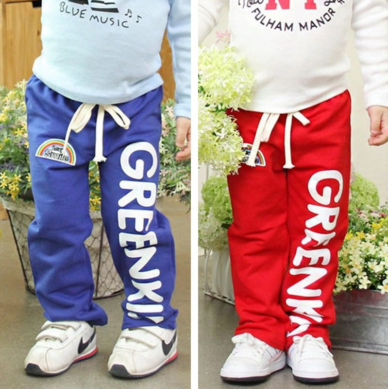 New 2014 Children pants girls boys sport full length pants spring autumn letter boys clothing baby trousers kids casual pants(China (Mainland))