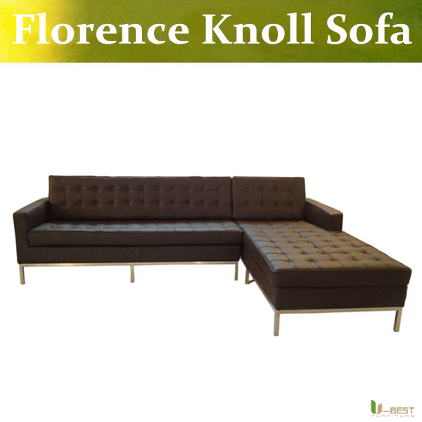 U-BEST Design Corner Sofa Inspired by Florence Knoll - Left Angle,Imitation Leather or real leather,Modern Living Room sofa(China (Mainland))