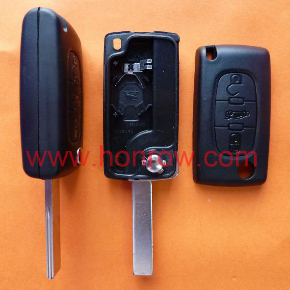 Peugeot 407 blade 3 button flip remote peugeot key shell with trunk button ( HU83 Blade - Trunk - With battery place )