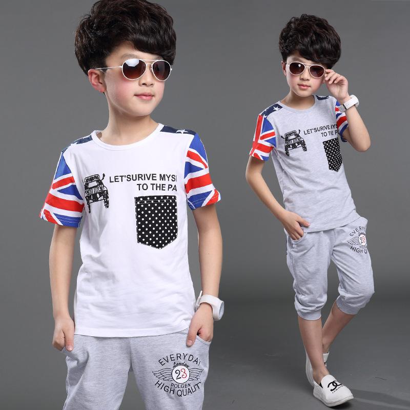 Children Boys Summer Clothing Sets The Union Flag T-shirt + Pants 2pcs Boys Sports Shorts Suits Kids Fashion Clothes Aged 4-14(China (Mainland))