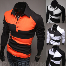 Free shipping Brand new winter men's long-sleeved polo shirt stitching sweaters, outdoor fashion casual pullover men(China (Mainland))