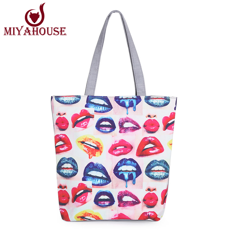 Harajuku Style Women Canvas Tote Fashion Lips Printed Canvas Bag Large Capacity Female Shopping Bag Casual Beach Bags(China (Mainland))