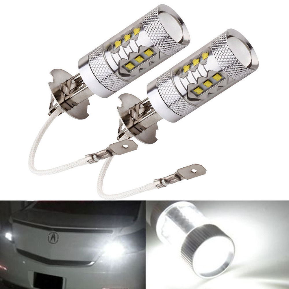 2PCS H3 80W 12V Cree LED Fog Lamp Bulb Xenon Pure White XBD-R3 Lens High Power Auto Car LED Daytime Running Bulb DRL Foglights(China (Mainland))