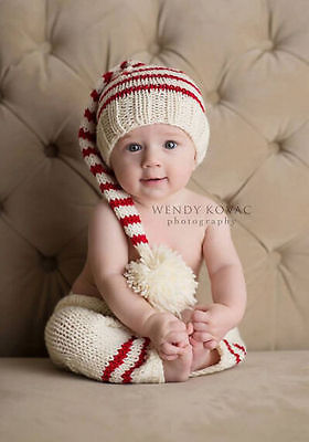 NEWBORN Pants and Elf Hat CHRISTMAS baby girl or boy set for Photography Props(China (Mainland))