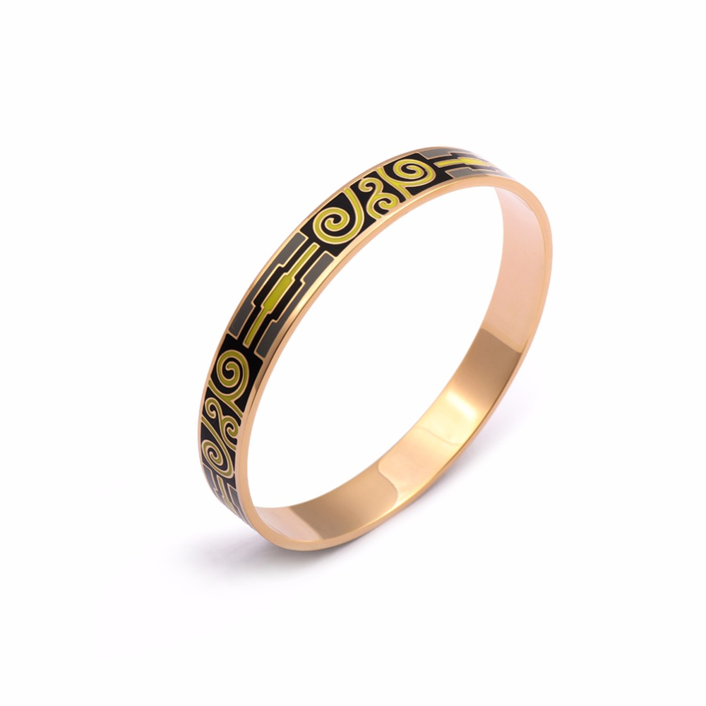 Bangles Vintage Painted 18K Real Gold Plated Stainless Steel 10mm Width Enamel Bracelet for Women Trendy Party Jewelry 11 Design(China (Mainland))