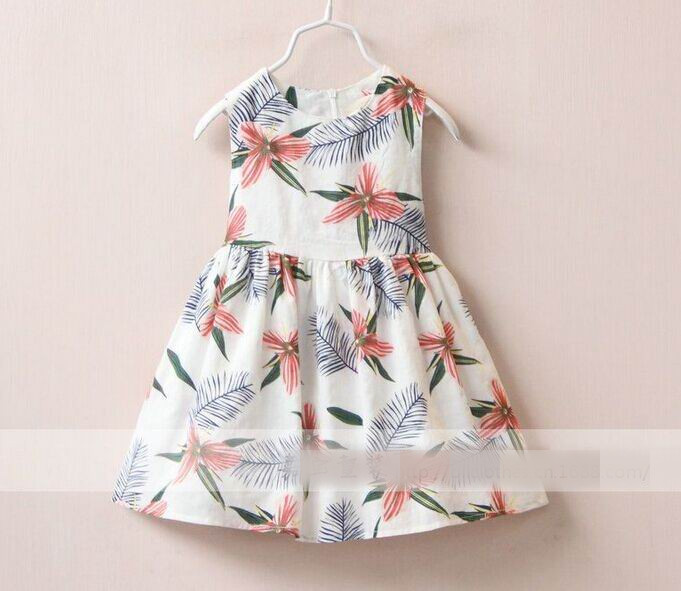 2016 Summer Girl Dress Feather Printing Round Collar Princess Sundress Children Clothing 2-8Y 309586<br><br>Aliexpress