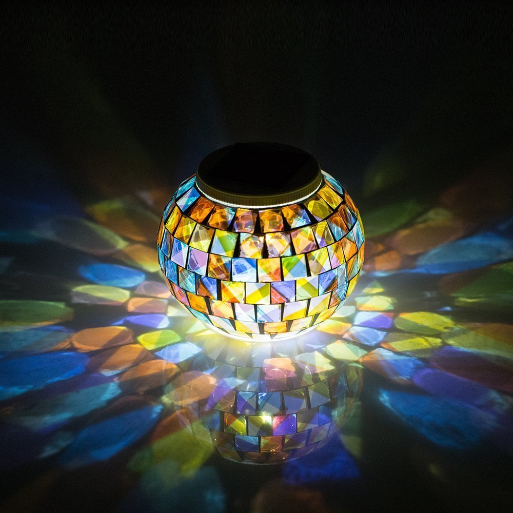 solar powered mosaic glass ball garden lights color changing solar table lamps solar outdoor. Black Bedroom Furniture Sets. Home Design Ideas