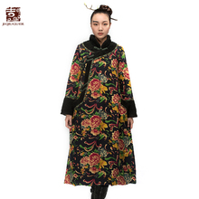 Buy Jiqiuguer Winter Floral Jackets Women's Plus Size Cotton-padded Jacket Ethnic Style Winter Wadded Jacket G154Y018 for $139.84 in AliExpress store
