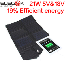 ELEGEEK 21W 5V & 18V Folding Solar Charger Pack Portable Solar Panel Charger for ipad iPhone Samsung Laptop 5V 18V Device(China (Mainland))