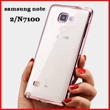 note2 Luxury original back battery soft tpu cases rose gold mobile phone coque cover case for samsung galaxy note 2 n7100(China (Mainland))