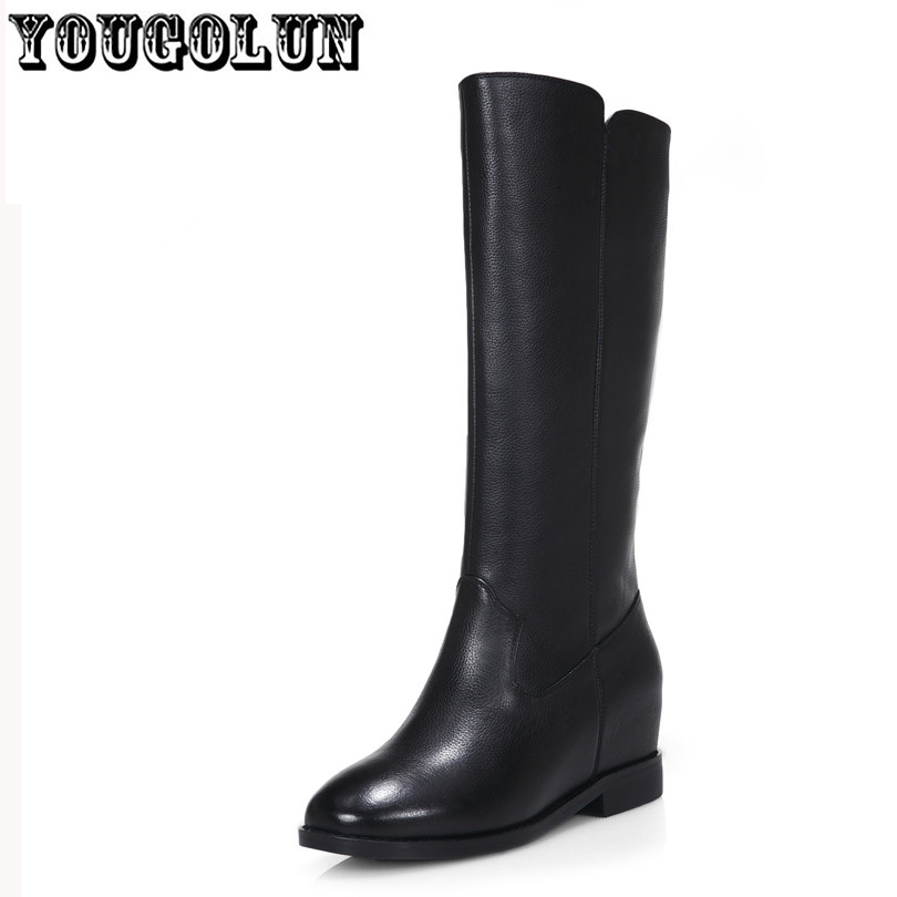 cow Genuine leather Black wedge low square heel fashion women Martin riding boots,2015 Winter Simple elegant style shoes female<br><br>Aliexpress