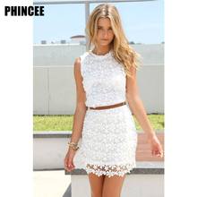 Buy 2017 hot style spring, summer, ladies' fashion, cultivate one's morality lace package buttocks sleeveless round collar pure colo for $20.45 in AliExpress store