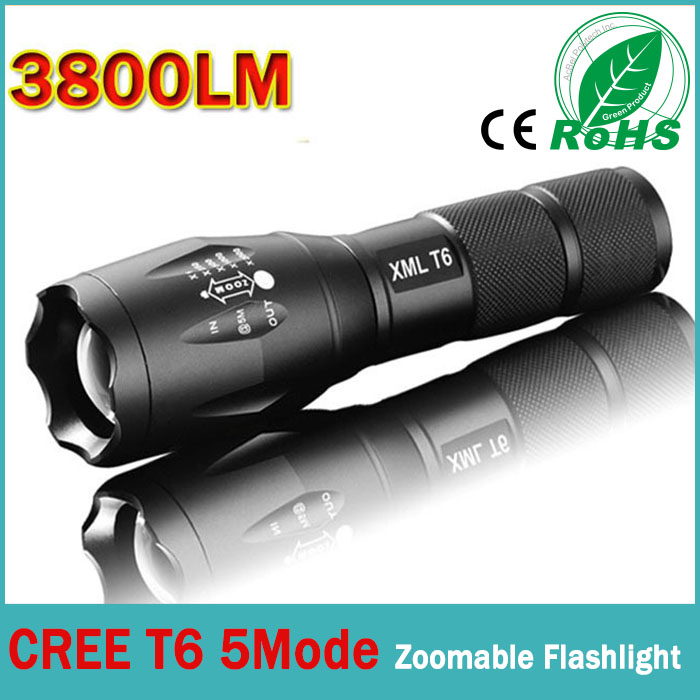 USA EU Top Selling E17 CREE XML T6 3800LM Aluminum Zoomable cree led flashlight Torch lamplight for 3xAAA or 1x18650 battery(China (Mainland))
