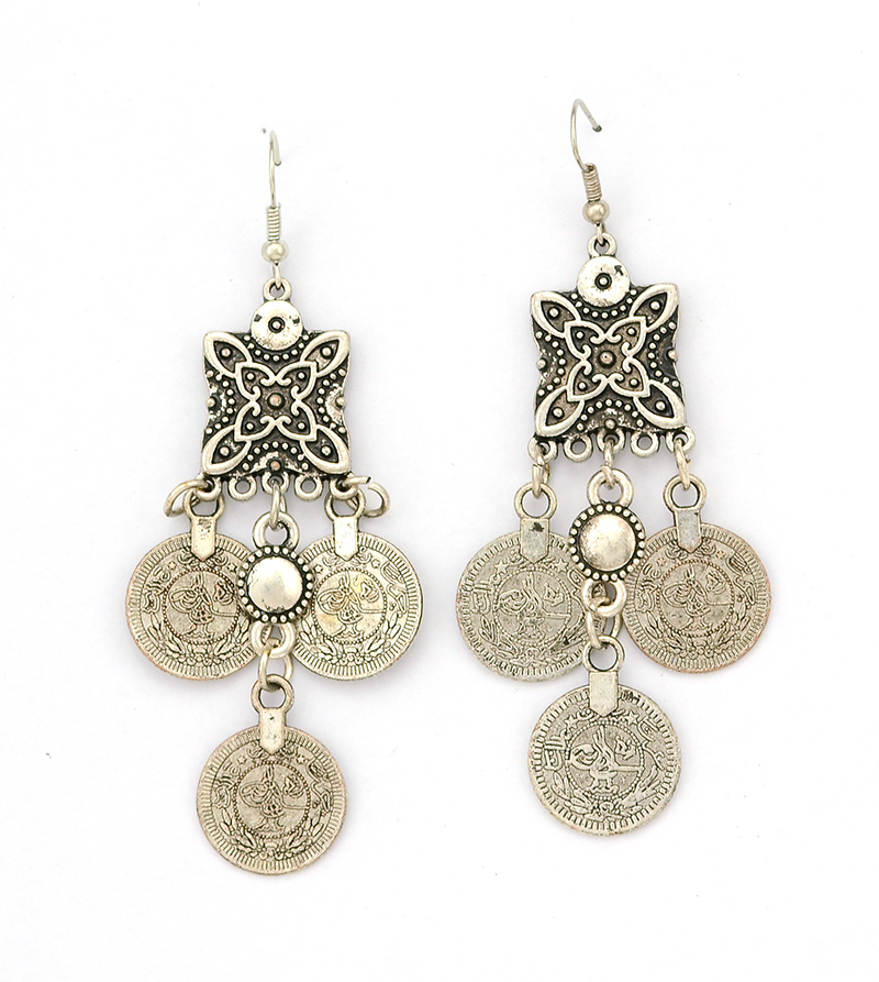 Bohemian style carving flower Coins Statement Earring Ethnic Turkish Beach India African Stone Jewelry