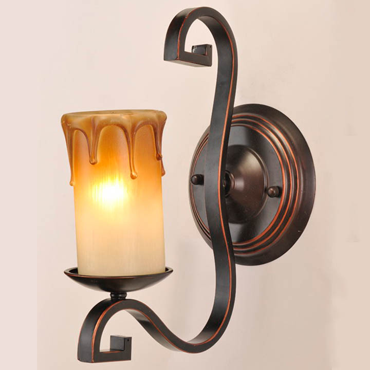 European Retro Iron Beige Wall Lamps Bedroom Living Room E27 Glass Lampshade Wall Light Free Mail<br>
