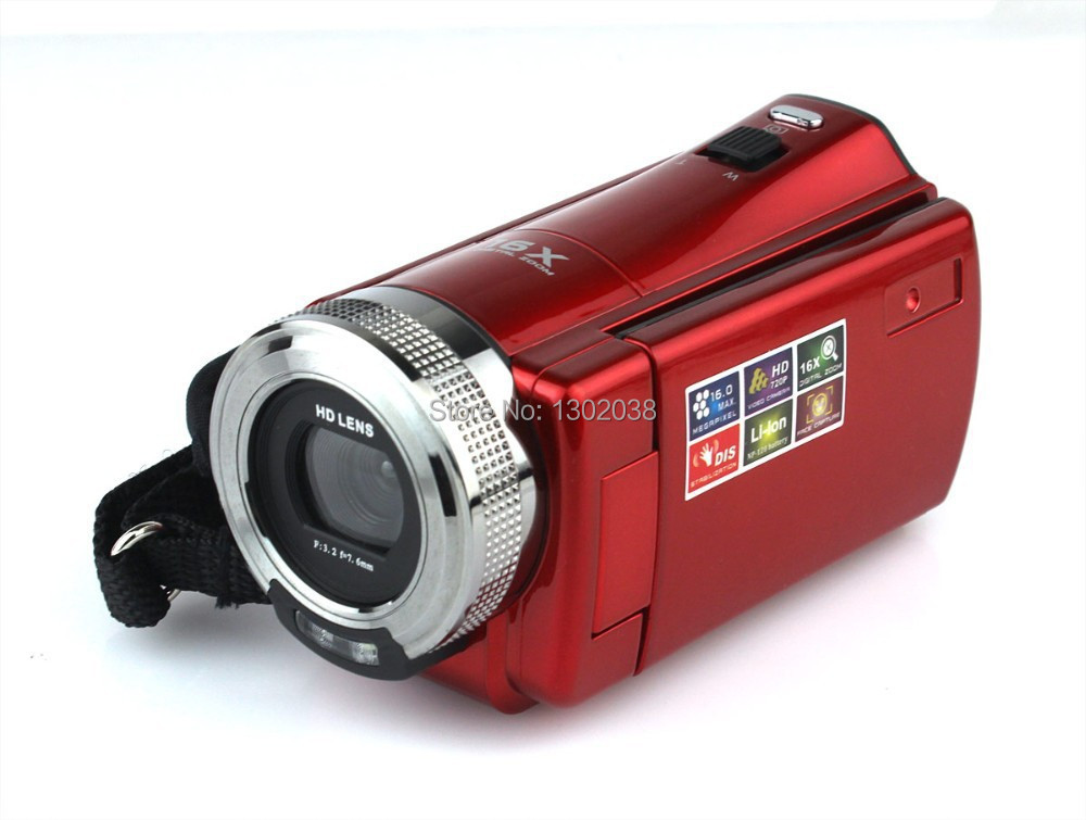 Red Portable High Definition Digital Video Camera Camcorder 16 Mega Pixel 720P HD 2.7 inch TFT LCD Screen 16XDigital Zoom(China (Mainland))