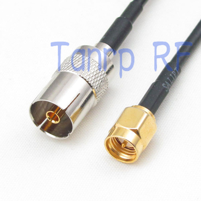 50CM Pigtail coaxial jumper RG174 extension cord cable 20in TV female jack to SMA male plug RF connector adapter(China (Mainland))