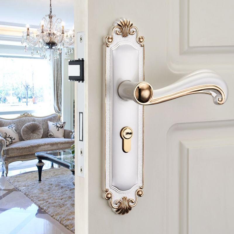 Jacob was European indoor Ivory door lock three suit door handle lock wood bedroom doors(China (Mainland))