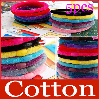 New Arrive: 5 pcs Girl Soft Cotton Ring Elastic Ties Hair Band Rope free shipping